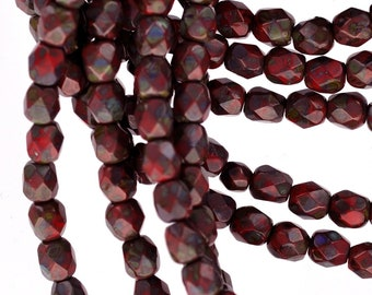 6mm RED and GREEN PICASSO Swirl Round Fire Polished Czech Glass Beads  bgl0762