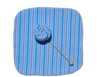 Baby Washcloth Striped Blue 10 Pack