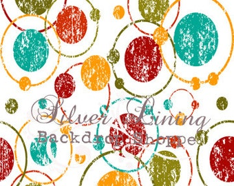 NEW PRICE 4ft x 3ft foot Vinyl Photography Backdrop / Large Circles & Dots