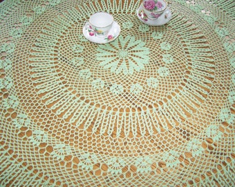 New hand crocheted Ships Wheel tablecloth in Mint 58 inches