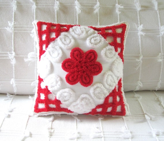 red chenille pillow cover 12 X 12 RED ROSE cushion cover Christmas pillow vintage chenille