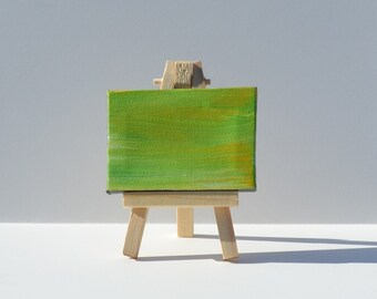 "Miniature Original Painting with Easel - Child with Multiple Disabilities - 2.5"" x 3"" - Green & Yellow"