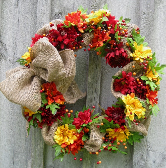 Fall Wreath, Autumn Floral Wreath, Burlap, Country Chic, Halloween