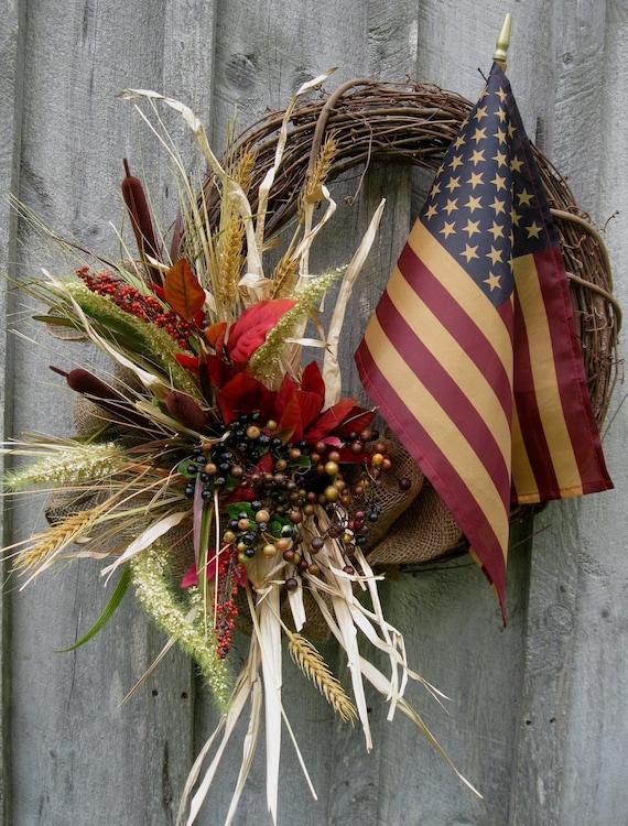 Autumn Wreaths, Fall Wreath, Americana, Fall Door Décor, Patriotic, Woodland, Tea Stained Flag