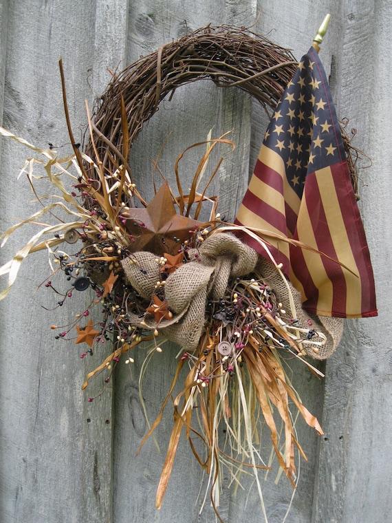 Fall Wreaths, Americana Wreath, Autumn Door Décor, Patriotic, Harvest, Country Chic, Tea Stained Flag