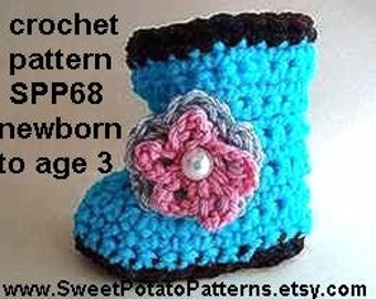 Instant Download PDF Crochet Pattern- Baby Booties -  SPP68, newborn to age 3
