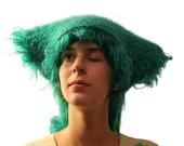 Wooly crochet hat in jade green