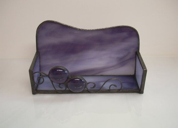 Purple Stained Glass Business Card Holder