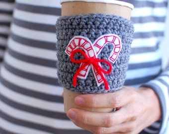 Christmas Coffee Cozy, Candy Cane Coffee Sleeve, Reusable Coffee Cozy with CANDY CANES by The Cozy Project