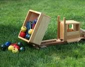 Eco Friendly Children's Toy Wooden Dump Truck MEDIUM Car Reclaimed Wood Kid's Preschooler Montessori Toy Natural Organic