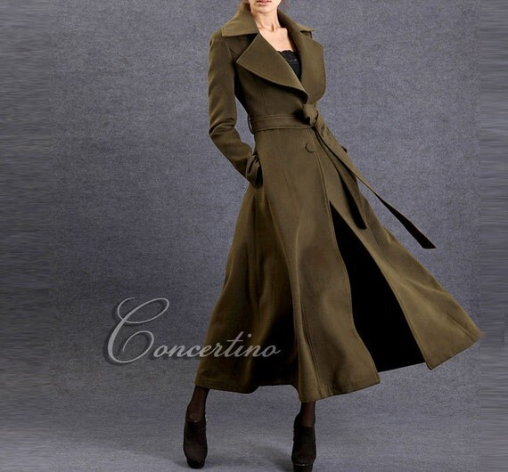 Items Similar To Green Winter Coat Fit And Flare Wool