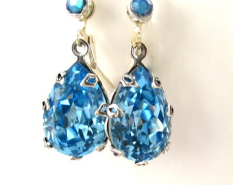 Sapphire crystal earrings - Swarovski Sapphire teardrops - Silver plate -handcrafted wedding jewelry bridal