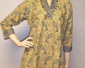 Vintage Paisley n Flower Print  with Gold Glitter & Trim Tunic Top