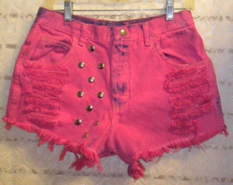 Vintage High Waist HOT Pink Hand Dyed Studded  Shorts -  Waist  29 inches