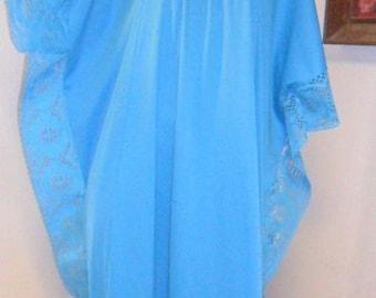 Vtg 70's Turquoise Caftan Maxi Dress Lace Trim