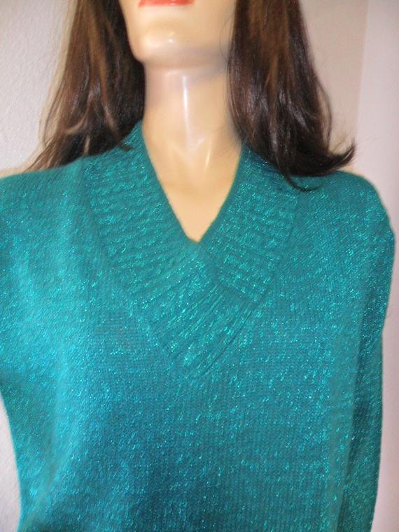 Vintage Diane Von Furstenberg Long Green & Sparkly Sweater Sz Small