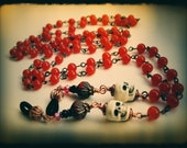 Day of the Dead Eyeglass or Glasses Chain. Upcycled Rosary Chain with Skulls. Orange and Black. Morbid Librarian Chic.