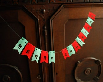 Merry Christmas, Petite Holiday Paper Garland, Banner, Bunting, Christmas season Ornament, Card or Gift