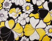 Black, Yellow and White Floral Fabric - One (1) Yard - Flowers Fabric