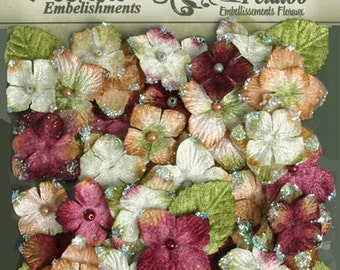 fabric flowers -  Chantilly Velvet Hydrangeas - Maroon burgundy 1272-182 - Hydrangeas  embellished with glitter -  32 flowers and 8 leaves