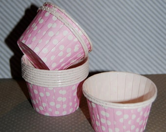 Light Pink Polka Dot  Candy Cups Nut cups Grease proof  Baking cupcake liners  muffin cups  Ice cream dessert portion cups - 24 count