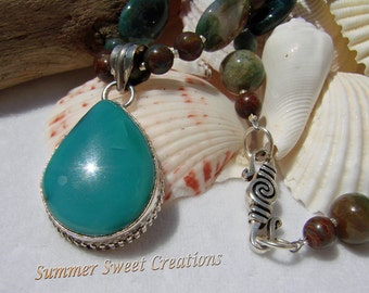 Green Onyx with Jasper and Turquoise Necklace and Earring Set