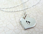 Hebrew Necklace - Custom Monogram - Custom Initial -  Layering Necklace - Chesed - Chai - Sterling Silver Heart Pendant