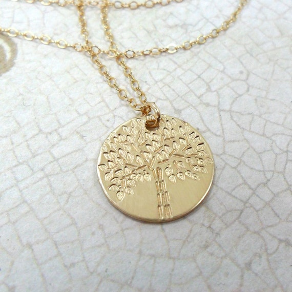 Tree of Life | Gold Disc Necklace | Nature Jewelry | Tree Jewelry | Family Jewelry | Gold Fill Pendant | Layering Necklace | 14k Gold Fill