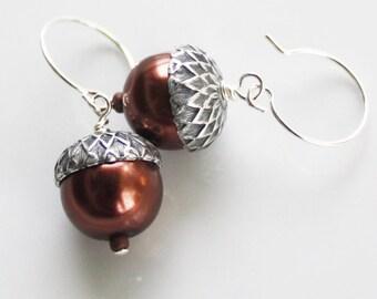 Acorn Earrings - Metallic Brown Glass Pearl Earrings - Silver Plated Findings, woodland earrings, fall earrings, acorn jewelry, autumn