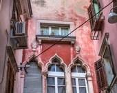 European Street, Shabby Chic, Pastel, Pink and Orange, Window Shutter, Travel Photography,  - wall art 8x10
