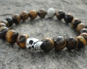 Men's Bracelet:  Tigers Eye Stone Skull Bracelet For Men with Bali Accent