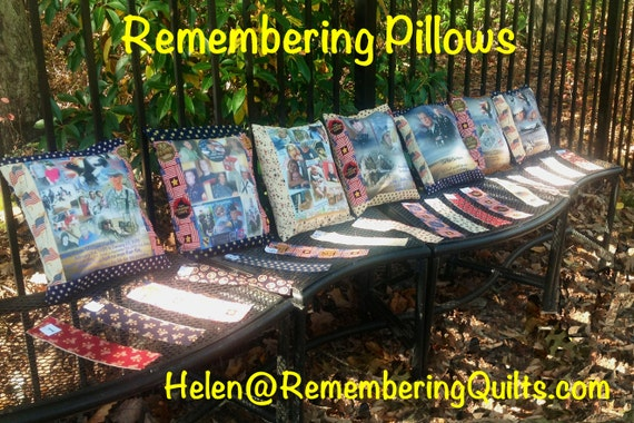 Remembering Pillow Sham  -12in x 12in - Your Photos Your Special Words Your Personalized Gift  - pillow insert not included