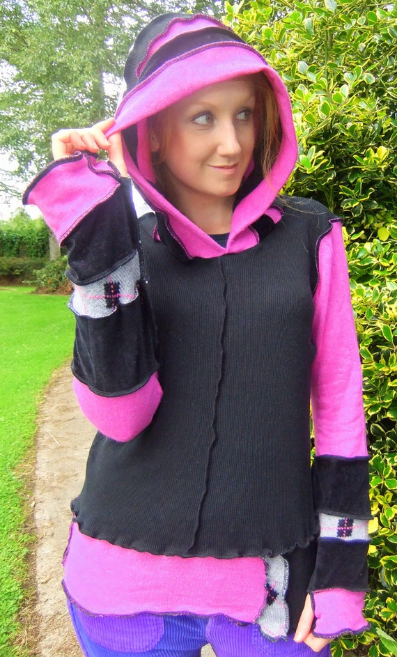 Black and Pink hoodie - upcycled sweaters - READY to SHIP