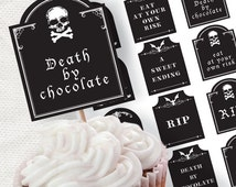 tombstone toppers halloween party cupcake decorations - printable file digital download
