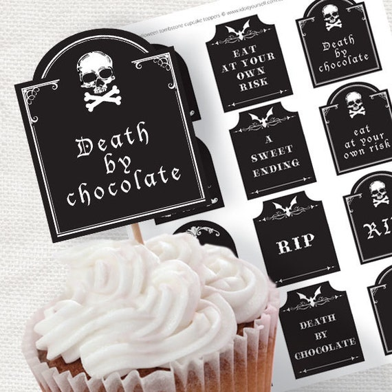 Tombstone Toppers Halloween Party Cupcake Decorations By