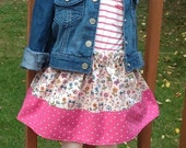 """Girl's Back to School Cool """" WHAT A HOOT """" Skirt in Creme, Pink  Multi. Sizes 12mo, 18mo, 2t, 3t, 4, 5, 6, 7, 8"""