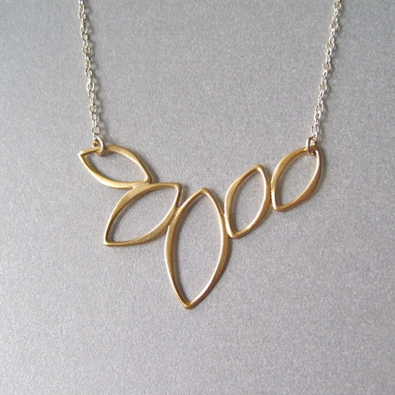 Gold Marquise Leaf Necklace