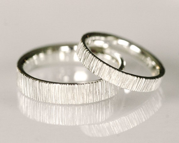 Modern Wedding Band Set Line Pattern Wedding Band 14k White