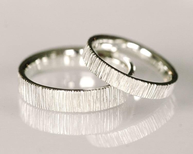 modern wedding band set line pattern 14k white - Fancy Wedding Rings