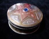 Moroccan 6 point blue jewel star pill box pot