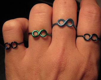 Wire Wrapped You Pick Your Colorful Infinity Symbol Ring MADE to ORDER