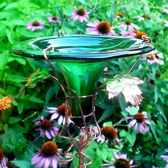 DRAGONFLIES Glass HUMMINGBIRD FEEDER,  copper, Bird Feeder, Green, Garden Decor