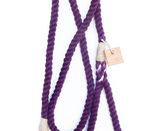 Rope dog leash pet supplies dog collar dog lead: Small grape cotton rope leash