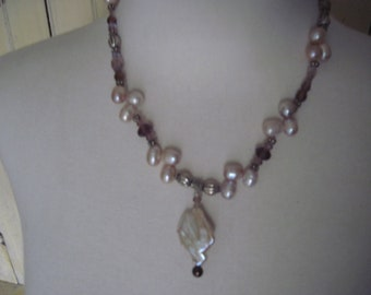 Free form pearl pendant necklace with top drilled pearls crystals sterling silver beads