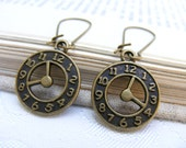 LAST PAIR What time is it- Bronze watch clock steampunk goth charm modern boho contemporary summer sand sea - vintage antique look earrings