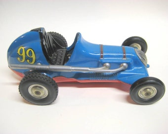 Vintage 1940s Thimble Drome Tether Race Car, Roy Cox Champion Blue Body, Red Chassis, 99 Tether Racing Car, Original, Unrestored