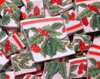 FREE SHIPPING 103 Holly BERRY Mosaic Tiles Tesserae Handmade Cut Nipped Dinnerware Plates Dishes Flowered Mosaics