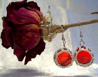 Red and Silver Florist Marble Earrings
