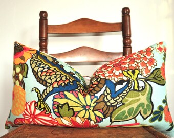 Schumacher Chiang Mai Dragon, Decorative Pillow, Throw Pillow, Designer Pillow, Lumbar Pillow, Aquamarine, Linen