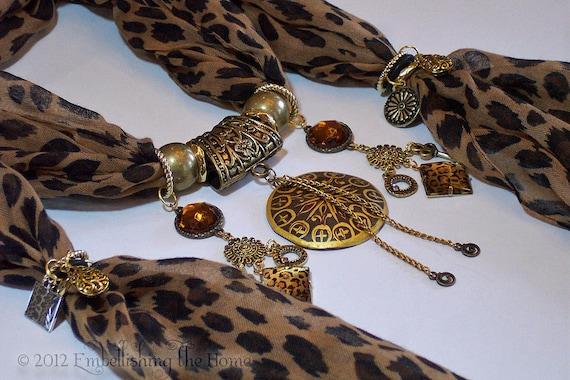Animal Print Scarf Pendant Necklace